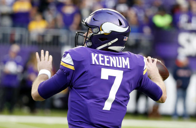 In the real world Case Keenum is a mortal quarterback, but in virtual reality, he's a god. (AP)
