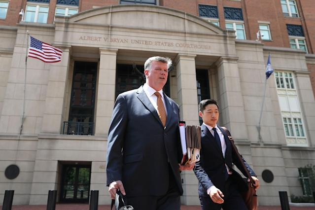 <p>Kevin Downing, attorney of former Trump campaign chairman Paul Manafort, walks out of the Albert V. Bryan United States Courthouse during a break in the second day of Manafort's trial Aug. 1, 2018 in Alexandria, Va. (Photo: Chip Somodevilla/Getty Images) </p>