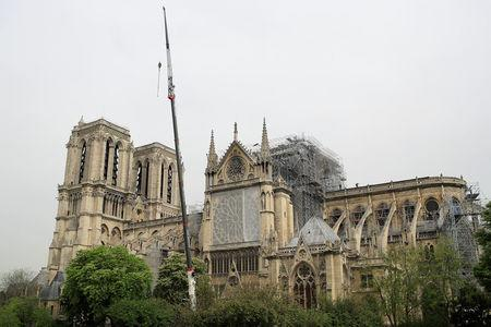 A view shows Notre-Dame Cathedral, a week after a massive fire devastated large parts of the gothic structure in Paris