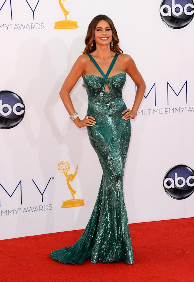 Sofia Vergara arrives at the 64th Primetime Emmy Awards at the Nokia Theatre in Los Angeles on September 23, 2012.