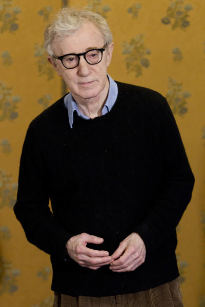 """FILE - This April 13, 2012 file photo shows director and actor Woody Allen at the photo call of the movie """"To Rome with Love"""", in Rome. Allen will receive the Cecil B. DeMille Award at Sunday's Golden Globe ceremony. (AP Photo/Andrew Medichini, File)"""