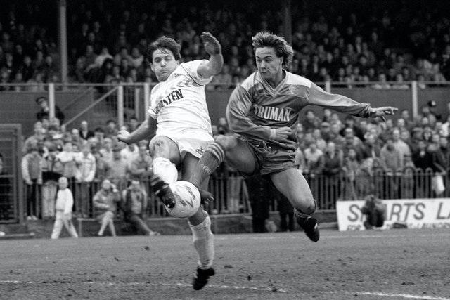 Gary Mabbutt was another Tottenham player to try to shackle Wise when they met in the quarter-finals of the 1987 FA Cup