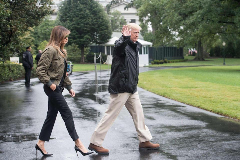 "<p>Melania Trump went to visit Hurricane Harvey victims in heels and the <a href=""https://www.vanityfair.com/style/2017/08/melania-trump-hurricane-harvey-heels"" rel=""nofollow noopener"" target=""_blank"" data-ylk=""slk:internet lost it"" class=""link rapid-noclick-resp"">internet lost it</a>. </p>"
