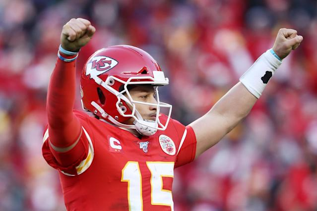 Patrick Mahomes of the Kansas City Chiefs will play in his first Super Bowl. (Photo by Jamie Squire/Getty Images)