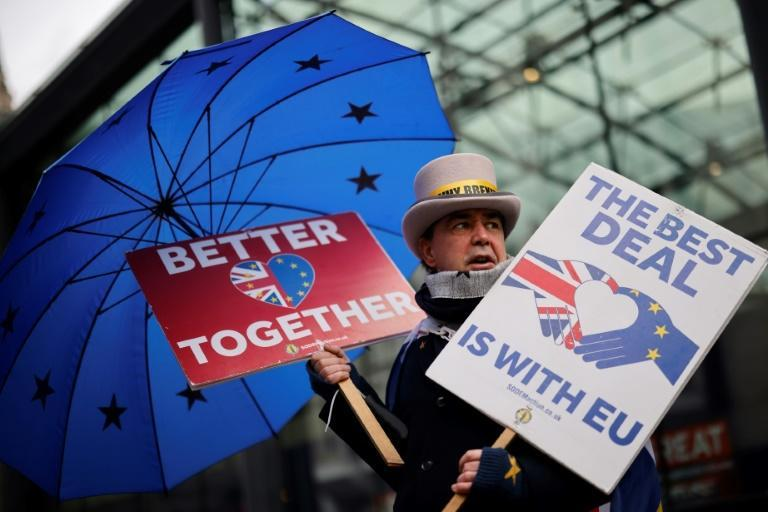 An anti-Brexit protester in London, where negotiations are going down to the wire