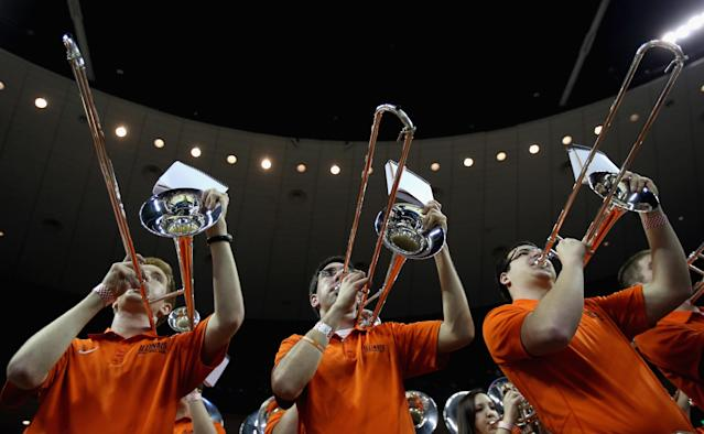 AUSTIN, TX - MARCH 22: Band members of the Illinois Fighting Illini play during game against the Colorado Buffaloes during the second round of the 2013 NCAA Men's Basketball Tournament at The Frank Erwin Center on March 22, 2013 in Austin, Texas. (Photo by Ronald Martinez/Getty Images)