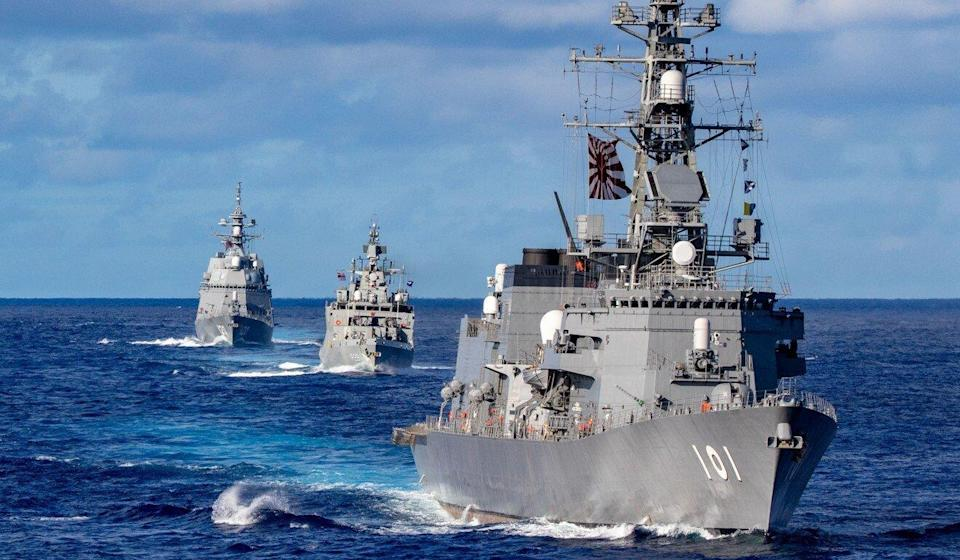 Ships from Japan's Maritime Self-Defence Force and the Indian Navy sail in formation with Royal Australian Navy HMAS Warramunga during Malabar exercises on Aug. 21, 20201. Photo: US Navy
