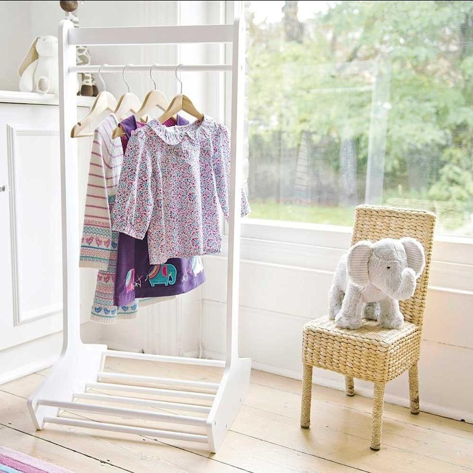 "<p><a class=""body-btn-link"" href=""https://www.jojomamanbebe.co.uk/white-clothes-stand-b1520.html"" target=""_blank"">BUY NOW</a><em>£39, JoJo Maman Bebe</em></p><p>A clothes rail is a brilliant wardrobe alternative if you are limited on storage. Or simply use it to put out clothes for the following day. <br></p>"
