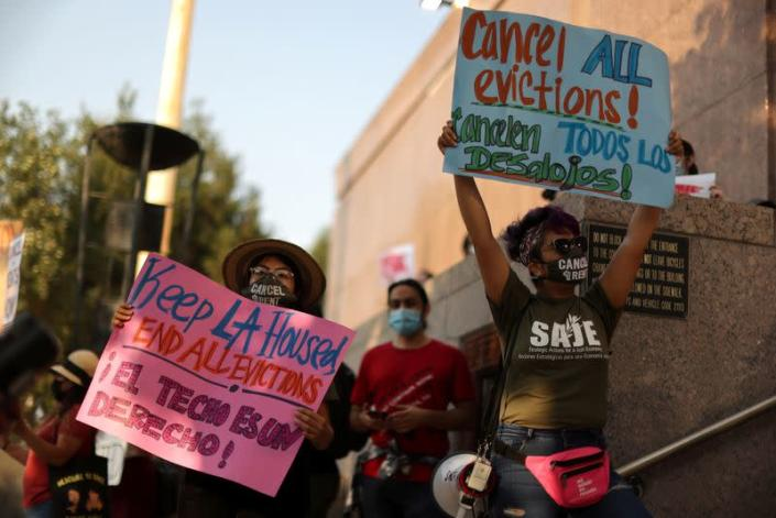 Protesters surround the LA Superior Court to prevent an upcoming wave of evictions and call on Governor Gavin Newsom to pass an eviction moratorium, amid the global outbreak of coronavirus disease (COVID-19), in Los Angeles