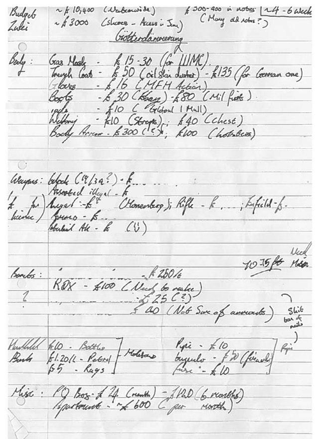A shopping list which was shown in evidence during the trial of Kyle Davies