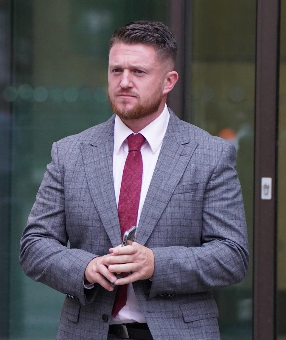 Tommy Robinson outside Westminster Magistrates' Court (Stefan Rousseau/PA) (PA Wire)