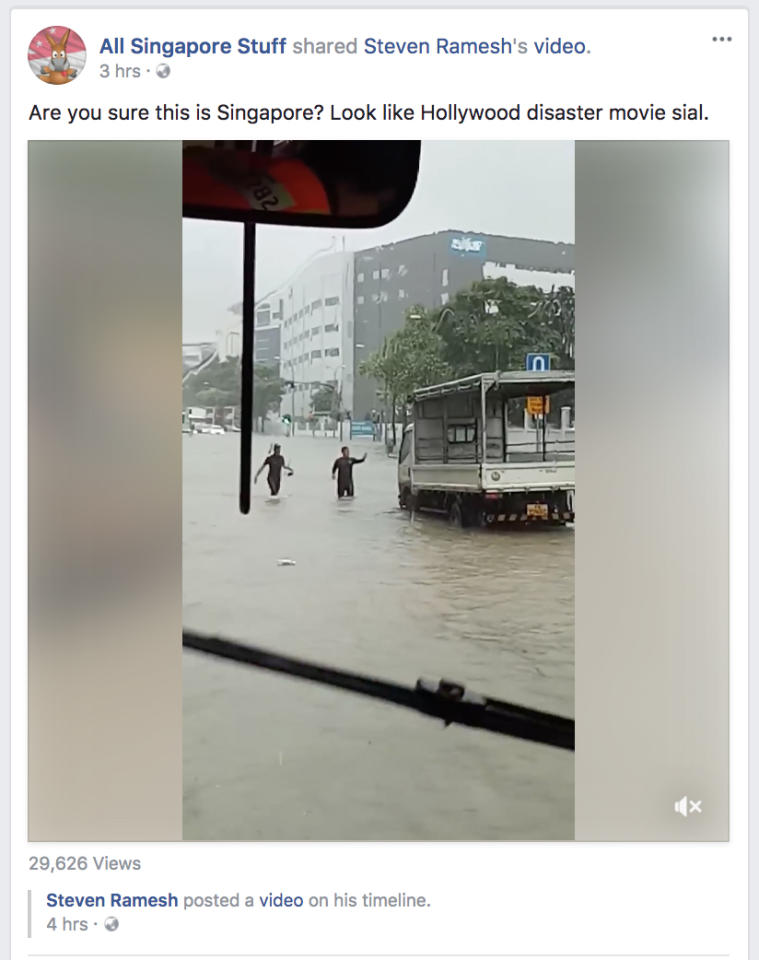 <p>All Singapore Stuff: Are you sure this is Singapore? Looks like a Hollywood disaster movie. <br />(Photo: Facebook screengrab) </p>