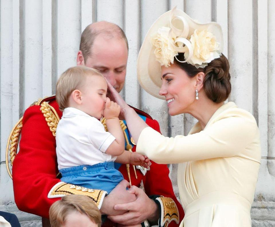 "<p><a href=""https://www.townandcountrymag.com/society/tradition/g27791365/prince-george-princess-charlotte-prince-louis-trooping-the-colour-2019-photos/"" rel=""nofollow noopener"" target=""_blank"" data-ylk=""slk:Prince Louis"" class=""link rapid-noclick-resp"">Prince Louis</a> made his debut <a href=""https://www.townandcountrymag.com/society/tradition/a27699983/prince-louis-trooping-the-colour-attend-first-time-2019/"" rel=""nofollow noopener"" target=""_blank"" data-ylk=""slk:on the Buckingham Palace balcony"" class=""link rapid-noclick-resp"">on the Buckingham Palace balcony</a> during Trooping the Colour, the Queen's annual birthday celebration. At one point, Louis sweetly sucked his thumb while his parents looked on. </p>"