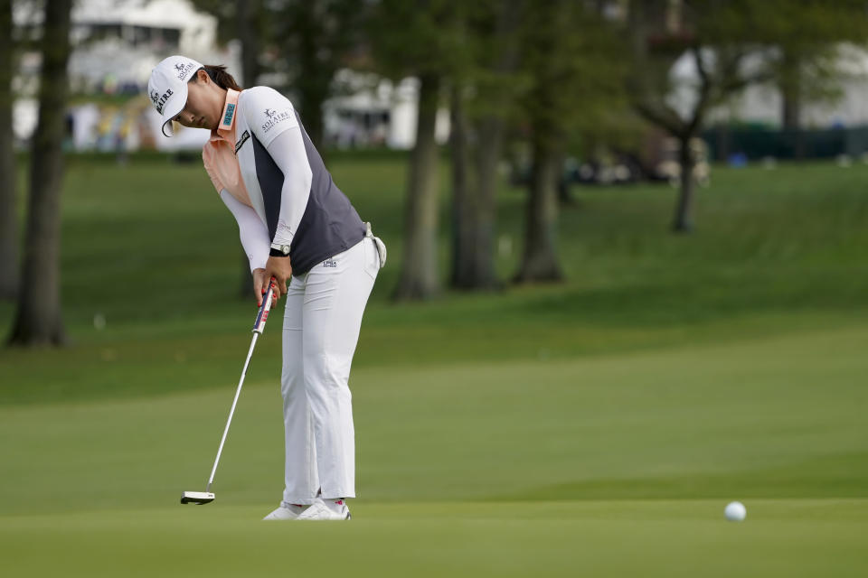 Jin Young Ko, of South Korea, putts on the 10th green in the second round of the Cognizant Founders Cup LPGA golf tournament, Friday, Oct. 8, 2021, in West Caldwell, N.J. (AP Photo/John Minchillo)