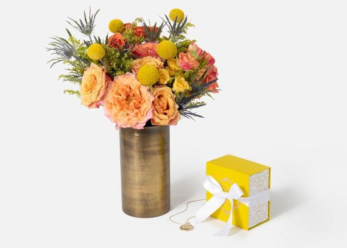 """<h2>Urbanstems The Libra<br></h2><br>A beautiful floral arrangement is always a great gift idea — especially when paired with some celestial bling-bling.<br><br><strong>Urbanstems</strong> The Libra, $, available at <a href=""""https://go.skimresources.com/?id=30283X879131&url=https%3A%2F%2Furbanstems.com%2Fproducts%2Fflowers%2Fthe-libra%2FFLRL-K-00027.html"""" rel=""""nofollow noopener"""" target=""""_blank"""" data-ylk=""""slk:Urbanstems"""" class=""""link rapid-noclick-resp"""">Urbanstems</a>"""