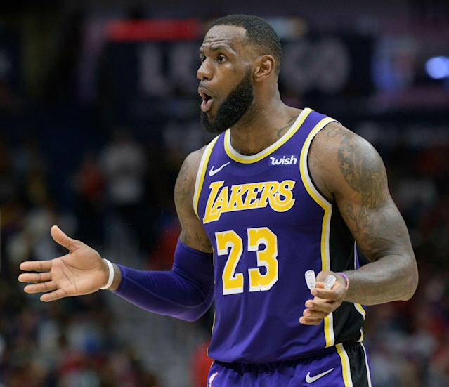 "According to one NBA executive, <a class=""link rapid-noclick-resp"" href=""/nba/players/3704/"" data-ylk=""slk:LeBron James"">LeBron James</a> is responsible for killing the <a class=""link rapid-noclick-resp"" href=""/nba/teams/la-lakers/"" data-ylk=""slk:Lakers"">Lakers</a>' chemistry during the <a class=""link rapid-noclick-resp"" href=""/nba/players/5007/"" data-ylk=""slk:Anthony Davis"">Anthony Davis</a> trade talks. (AP/Matthew Hinton)"