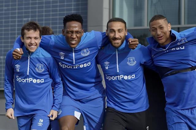 <span>Bernard, Yerry Mina, Cenk Tosun and Richarlison getting ready for Arsenal at Finch Farm.</span> <span>Photograph: Tony McArdle/Everton FC via Getty Images</span>