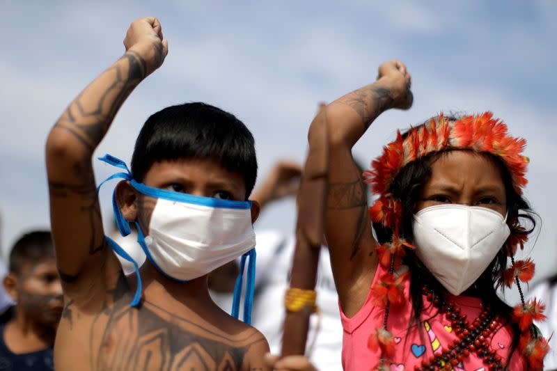 FILE PHOTO: Munduruku ethnic group protest in favor of mining and against the entry of NGOs in indigenous lands
