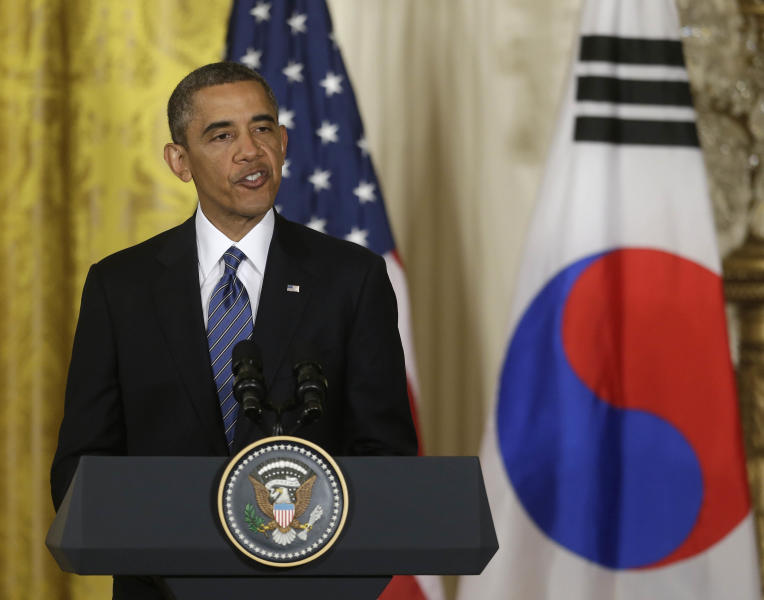 President Barack Obama during a joint news conference with South Korean President Park Geun-Hye in the East Room of the White House in Washington, Tuesday, May 7, 2013. (AP Photo/Pablo Martinez Monsivais)