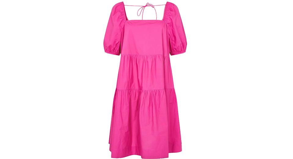 Tiered dress in organic cotton pink