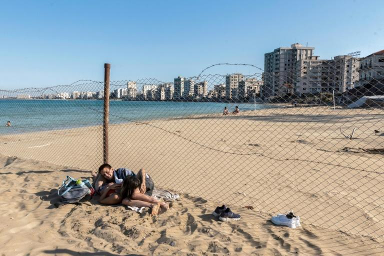 The fenced-off area of Varosha in Famagusta town in the self-proclaimed Turkish Republic of Northern Cyprus (TRNC) seen here in June this year