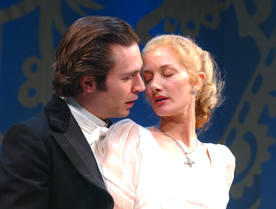 """Jack Davenport as Lord Darlington and Joely Richardson as Lady Windermere star in the Oscar Wilde play, """"Lady Windermere's Fan,"""" staged at London's Theatre Royal. (Photo by rune hellestad/Corbis via Getty Images)"""