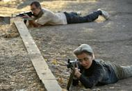 Volunteers and reservists in military training on Thursday before joining the Karabakh Defence Army to fight against Azerbaijani forces