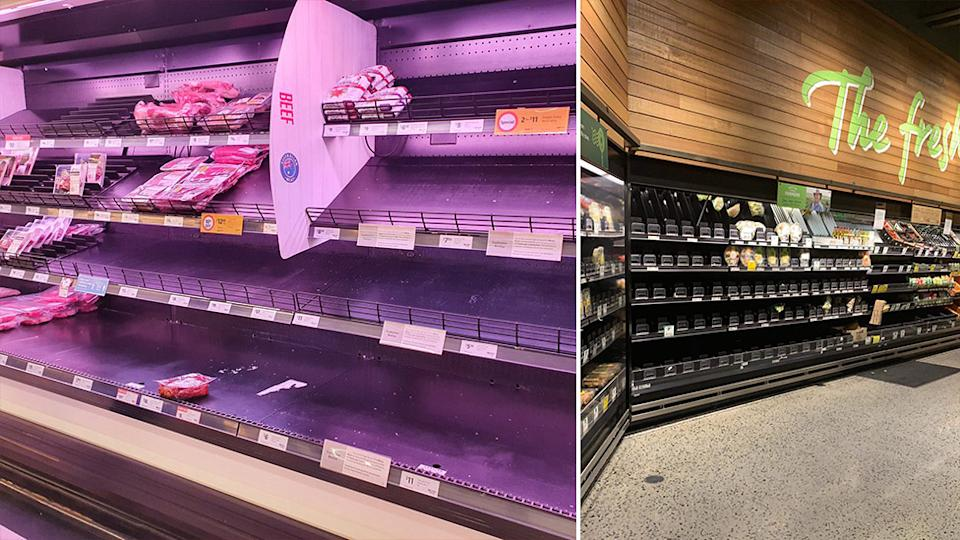 Coles (left) and Woolworths are dealing with a second. wave of panic buying as Victoria goes into lockdown. Source: Twitter - @lovinLCHF/@SumBumSZN