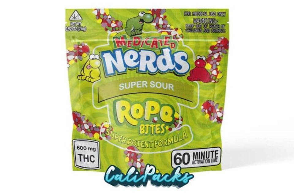 """Last October, pupils were hospitalised after consuming """"super potent formula"""" Nerd Rope Bites, decorated to look like the packaging for the popular children's chews, in north London (Handout)"""