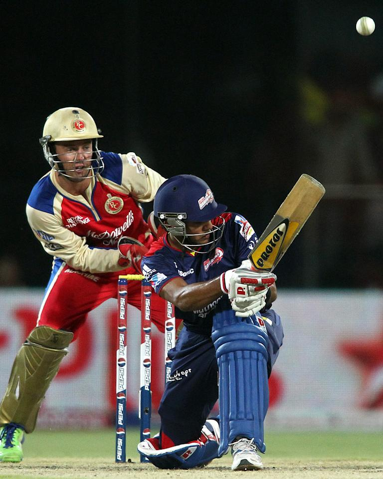 Unmukt Chand of Delhi Daredevils flicks a delivery behind to the boundary during match 57 of the Pepsi Indian Premier League between Delhi Daredevils and the Royal Challengers Bangalore held at the Feroz Shah Kotla Stadium, Delhi on the 10th May 2013. (BCCI)