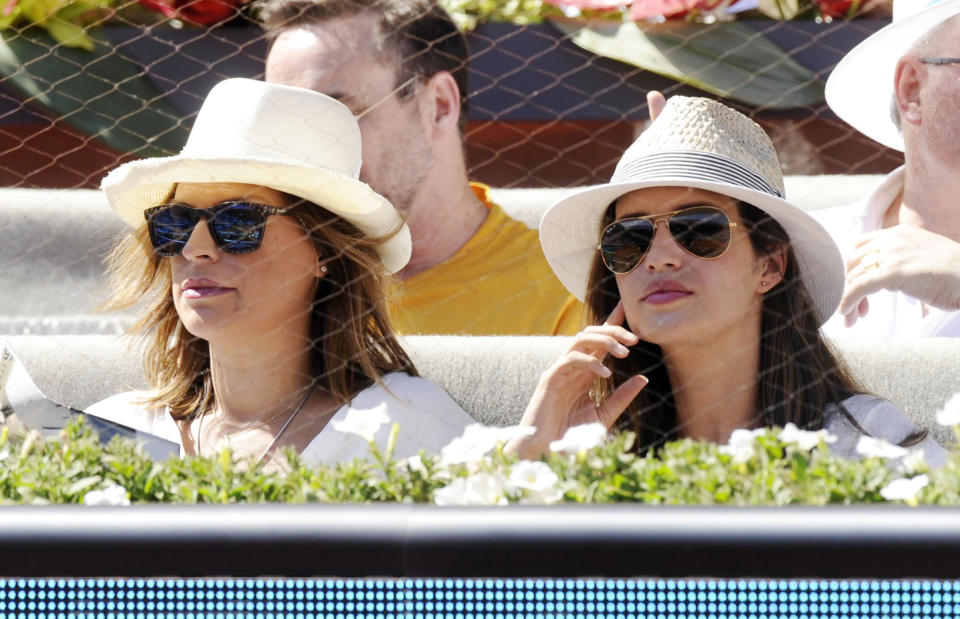 MADRID, MADRID - MAY 09:  (L-R) Raquel Perera and Sara Carbonero attend Mutua Madrid Open on May 9, 2014 in Madrid, Spain.  (Photo by Europa Press/Europa Press via Getty Images)