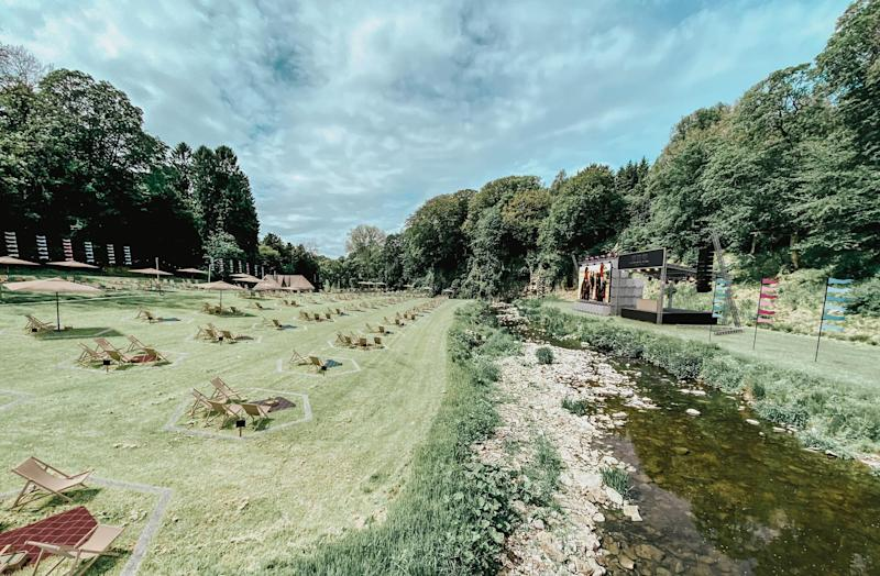 Gisburne Park Pop Up's main stage, with the water separating punters from the entertainment  (Photo: HuffPost UK)