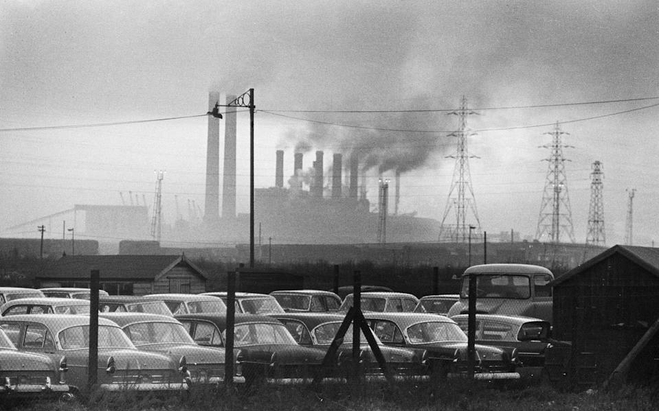 General scenes outside the Ford paint, trim and assembly plant in Dagenham, Essex as new Ford cars roll off the production line, 16th November 1960. (Photo by Staff/Mirrorpix/Getty Images)  - Getty