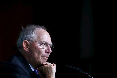 German Finance Minister Schaeuble pauses during a Bundesbank banking congress in Frankfurt