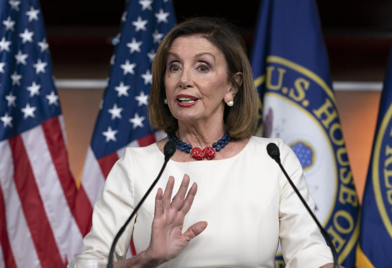 Speaker of the House Nancy Pelosi, D-Calif., addresses reporters at the Capitol in Washington, Thursday, Sept. 26, 2019, as Acting Director of National Intelligence Joseph Maguire appears before the House Intelligence Committee about a secret whistleblower complaint involving President Donald Trump. (Photo: J. Scott Applewhite/AP)