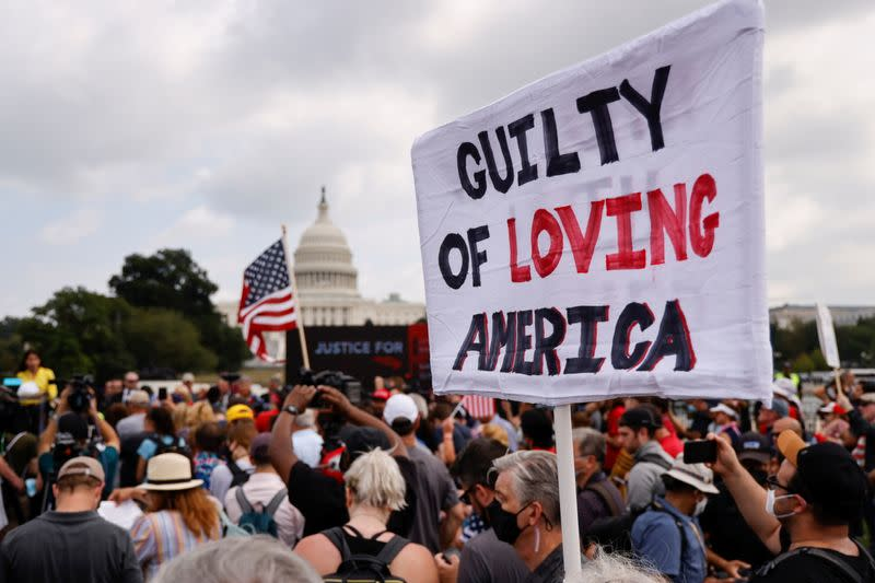 Supporters of defendants being prosecuted in the January 6 attack on the U.S. Capitol hold a rally in Washington