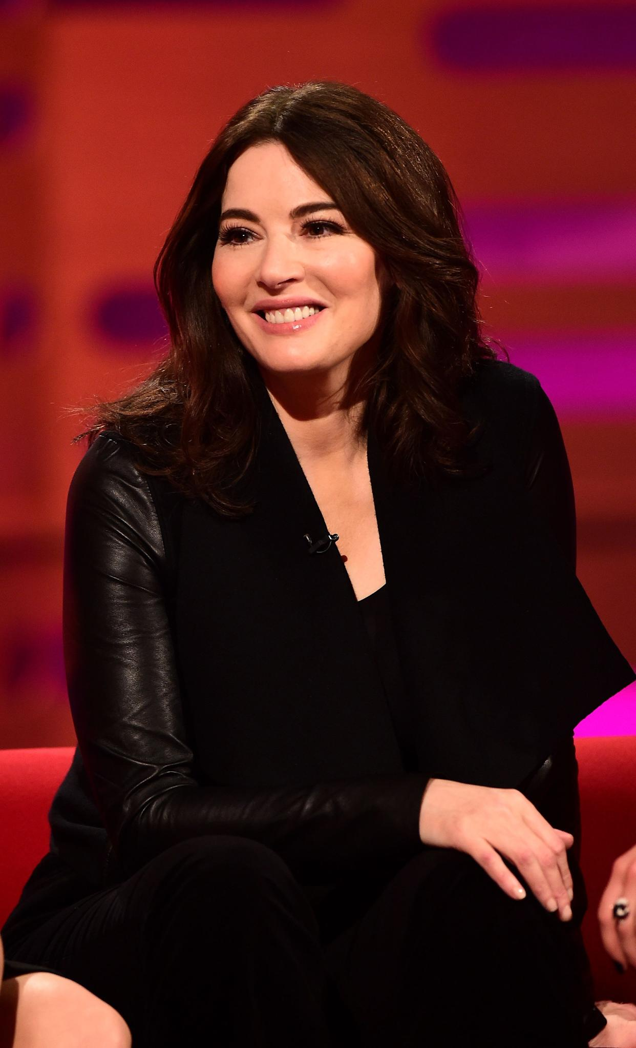 Nigella Lawson during filming of the Graham Norton Show at The London Studios, south London, to be aired on BBC One on Friday evening.