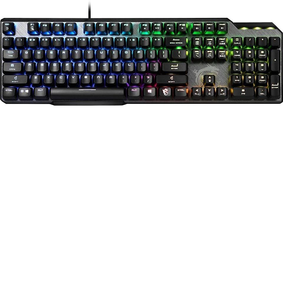 """<p><strong>MSI</strong></p><p>amazon.com</p><p><strong>$77.70</strong></p><p><a href=""""https://www.amazon.com/dp/B08K2PZP42?tag=syn-yahoo-20&ascsubtag=%5Bartid%7C10054.g.37143199%5Bsrc%7Cyahoo-us"""" rel=""""nofollow noopener"""" target=""""_blank"""" data-ylk=""""slk:Buy"""" class=""""link rapid-noclick-resp"""">Buy</a></p><p>This is not only the most budget-friendly gaming keyboard on the list, but it also looks the most gamer-y. MSI consistently makes products that have that high-tech look that gamers crave. With the GK50, the brushed style and asymmetrical design lends some interest to your desk, while also working great for clapping noobs—and saving you some cash. It's got extra RGB lighting accents beyond just the keys and even has the MSI dragon on it. What's more badass than RGB and dragons? I'll tell you, not much. The keyboard works as expected from this industry powerhouse brand, with fast response time, sturdy mechanical keys, and all the rest of the features you need to be your top gamer self. While it's the cheapest keyboard on the list, nothing feels cheap about it, especially if this cyberpunk aesthetic is what you love.</p>"""