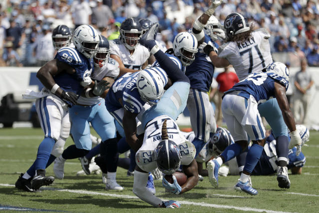 Tennessee Titans running back Derrick Henry (22) dives into the end zone for a touchdown against the Indianapolis Colts in the second half of an NFL football game Sunday, Sept. 15, 2019, in Nashville, Tenn. (AP Photo/James Kenney)