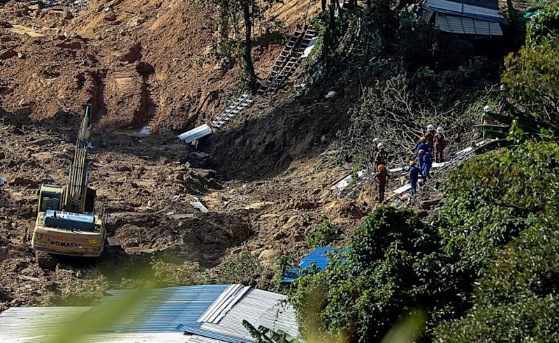 A view of the construction area where a landslide occured on Friday that killed seven foreign workers with three more feared still buried underneath the mud, October 22, 2018. ― Picture by Sayuti Zainudin