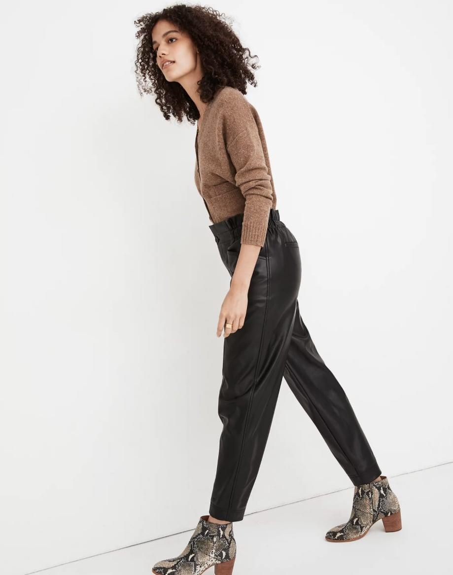 <p>These cool <span>Madewell Vegan Leather Pull-On Paperbag Pants</span> ($138) are always great to have in your wardrobe.</p>