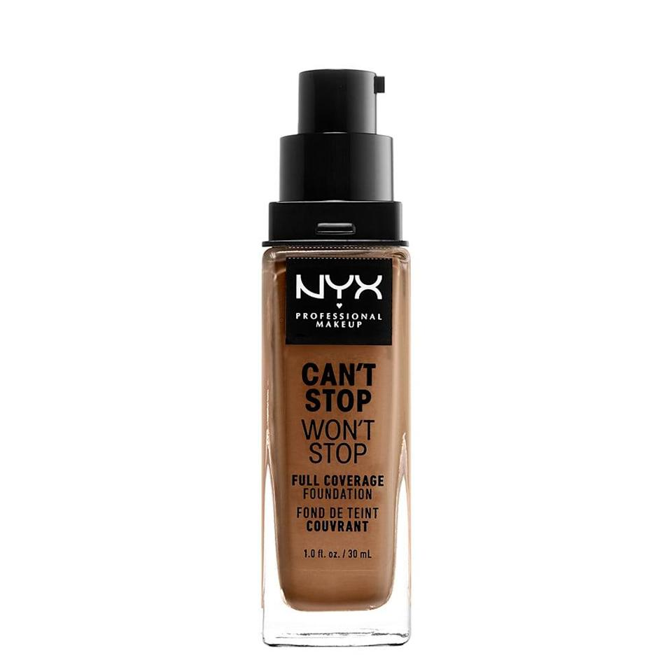 """<p><a href=""""https://www.popsugar.com/buy/NYX-Professional-Makeup-Cant-Stop-Wont-Stop-Full-Coverage-Foundation-584932?p_name=NYX%20Professional%20Makeup%20Can%27t%20Stop%20Won%27t%20Stop%20Full%20Coverage%20Foundation&retailer=walmart.com&pid=584932&price=15&evar1=bella%3Aus&evar9=41810731&evar98=https%3A%2F%2Fwww.popsugar.com%2Fbeauty%2Fphoto-gallery%2F41810731%2Fimage%2F47575586%2FNYX-Professional-Makeup-Cant-Stop-Wont-Stop-Full-Coverage-Foundation&list1=makeup%2Cbeauty%20products%2Cbeauty%20shopping%2Cnyx&prop13=api&pdata=1"""" class=""""link rapid-noclick-resp"""" rel=""""nofollow noopener"""" target=""""_blank"""" data-ylk=""""slk:NYX Professional Makeup Can't Stop Won't Stop Full Coverage Foundation"""">NYX Professional Makeup Can't Stop Won't Stop Full Coverage Foundation</a> ($15) is a full-coverage, shine-controlling formula that's completely waterproof. It comes in 45 shades, offering a natural-looking finish.</p>"""