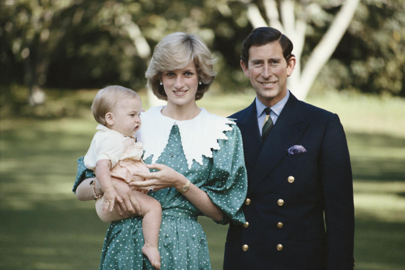 Princess Diana, Prince Charles and Prince William in New Zealand in 1983.  (Tim Graham via Getty Images)