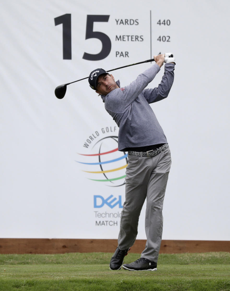 Kevin Kisner drives on the 15th hole during quarterfinal play at the Dell Technologies Match Play Championship golf tournament, Saturday, March 30, 2019, in Austin, Texas. Kisner defeated Louis Oosthuizen. (AP Photo/Eric Gay)