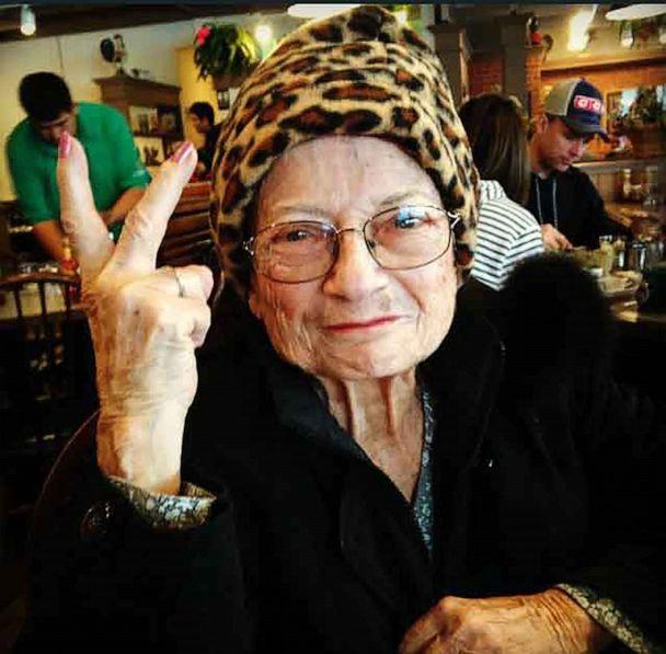 PHOTO: Parks' grandmother Marie Engelking poses with her signature peace sign. (Courtesy Lauren Parks)