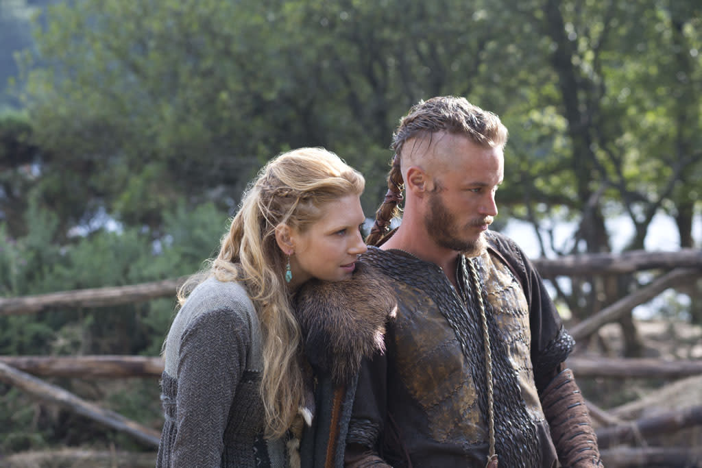 Lagertha (Katheryn Winnick) happily reunited with her husband Ragnar (Travis Fimmel)