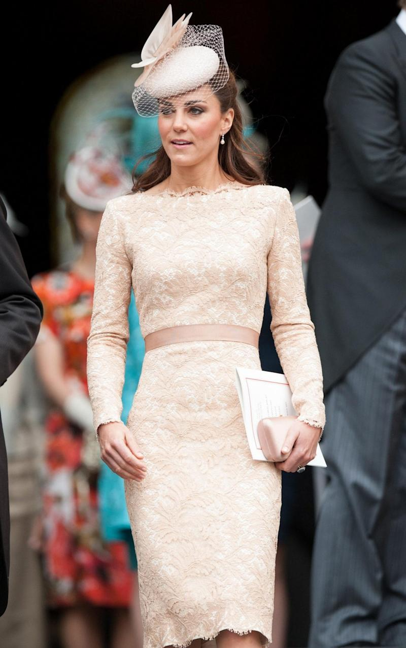The Duchess of Cambridge wearing Alexander McQueen for The Queen's Diamond Jubilee service of thanksgiving - PA