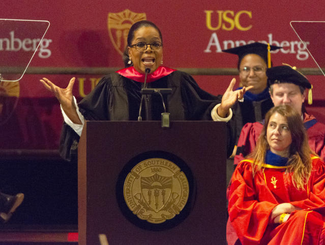 Oprah Winfrey speaks to graduates at USC's Annenberg School for Communication and Journalism at the Shrine Auditorium in Los Angeles. (Photo: Willy Sanjuan/Invision/AP, File)