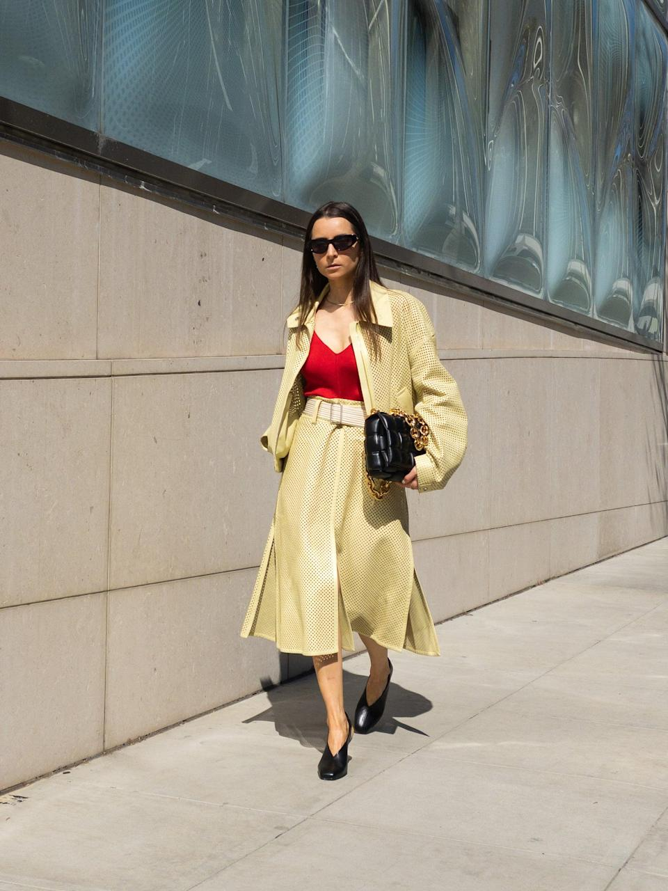 <p>Instead of head-to-toe neutrals, try mixing a bright color into your layering pieces.</p>