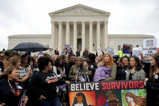 PHOTO: Women's March co-president Tamika Mallory, center, speaks at a rally against the confirmation of Judge Brett Kavanaugh in front of the Supreme Court building in Washington, D.C., Sept. 24, 2018. (Chip Somodevilla/Getty Images, FILE)